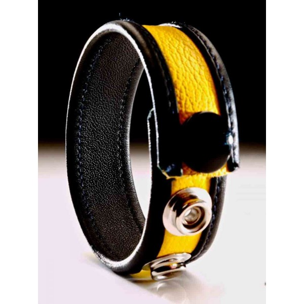Yellow Leather Cock  strap